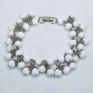 Vintage silver tone white bead dangle bracelet